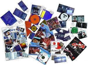 Montage of Bora Bora Music and Gee moore compilation CDs